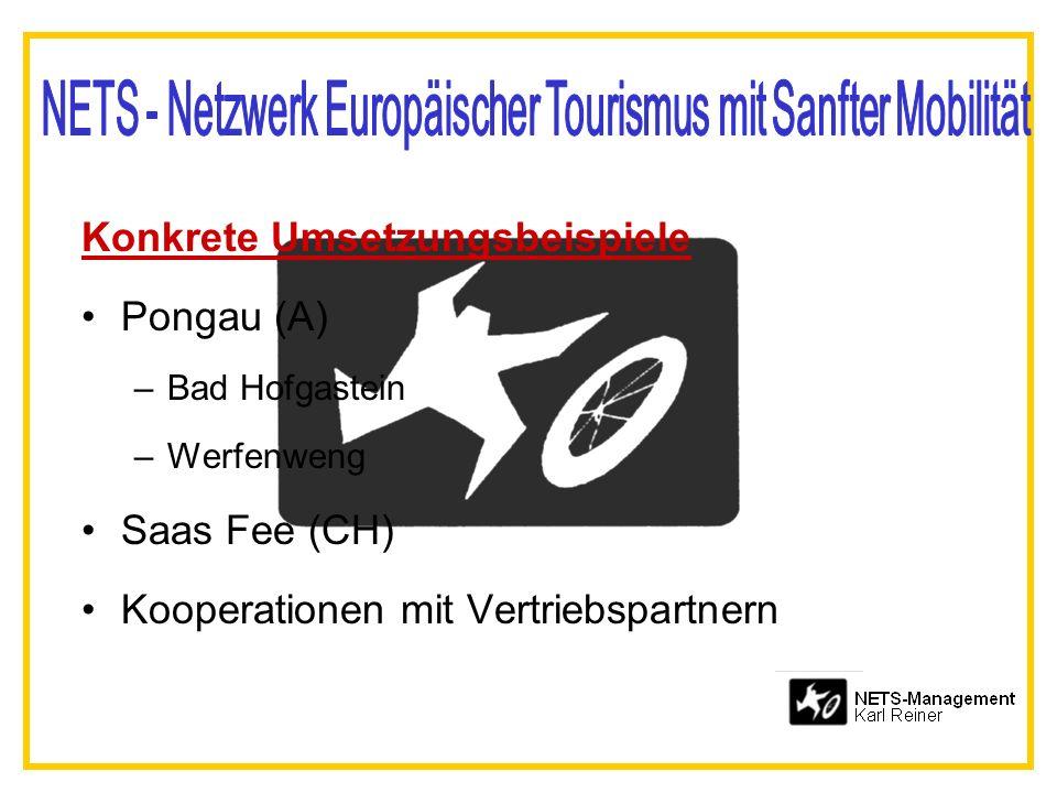 Konkrete Umsetzungsbeispiele Pongau (A) –Bad Hofgastein –Werfenweng Saas Fee (CH) Kooperationen mit Vertriebspartnern