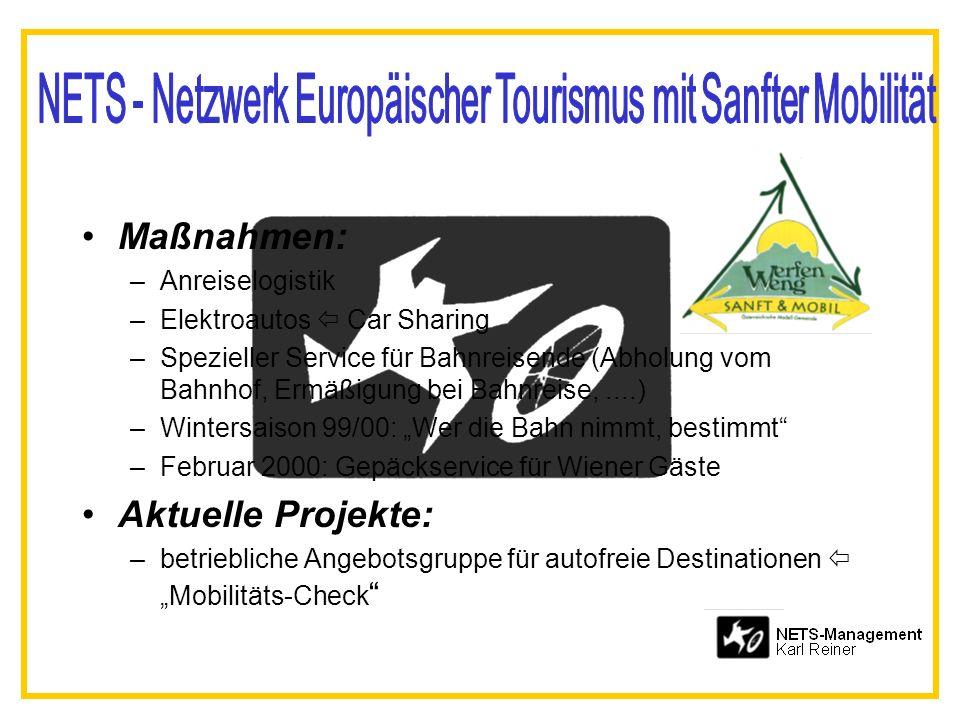 Maßnahmen: –Anreiselogistik –Elektroautos Car Sharing –Spezieller Service für Bahnreisende (Abholung vom Bahnhof, Ermäßigung bei Bahnreise,....) –Wint
