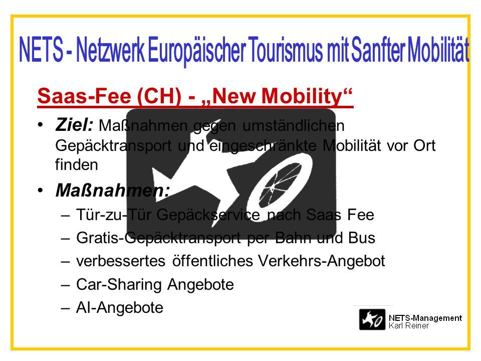 Saas-Fee (CH) - New Mobility Ziel: Maßnahmen gegen umständlichen Gepäcktransport und eingeschränkte Mobilität vor Ort finden Maßnahmen: –Tür-zu-Tür Gepäckservice nach Saas Fee –Gratis-Gepäcktransport per Bahn und Bus –verbessertes öffentliches Verkehrs-Angebot –Car-Sharing Angebote –AI-Angebote