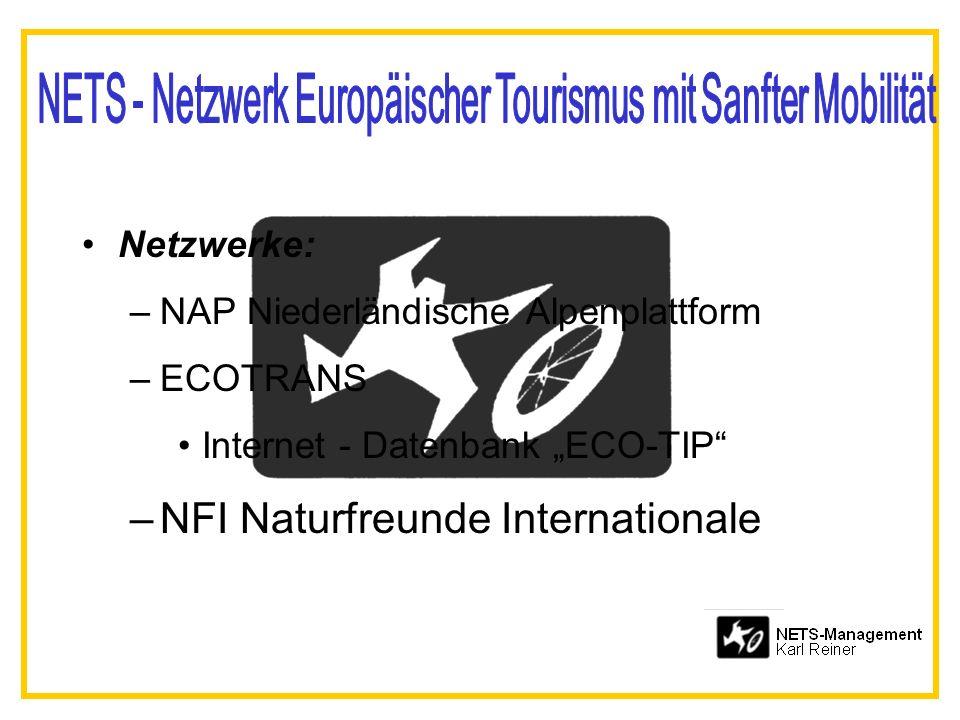 Netzwerke: –NAP Niederländische Alpenplattform –ECOTRANS Internet - Datenbank ECO-TIP –NFI Naturfreunde Internationale