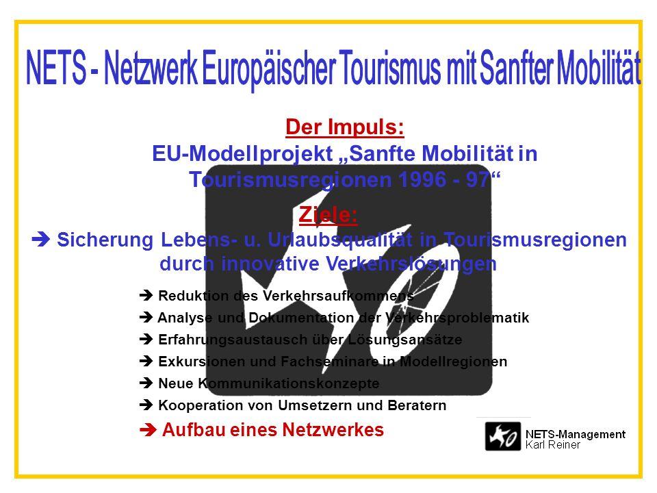 Der Impuls: EU-Modellprojekt Sanfte Mobilität in Tourismusregionen 1996 - 97 Ziele: Sicherung Lebens- u. Urlaubsqualität in Tourismusregionen durch in