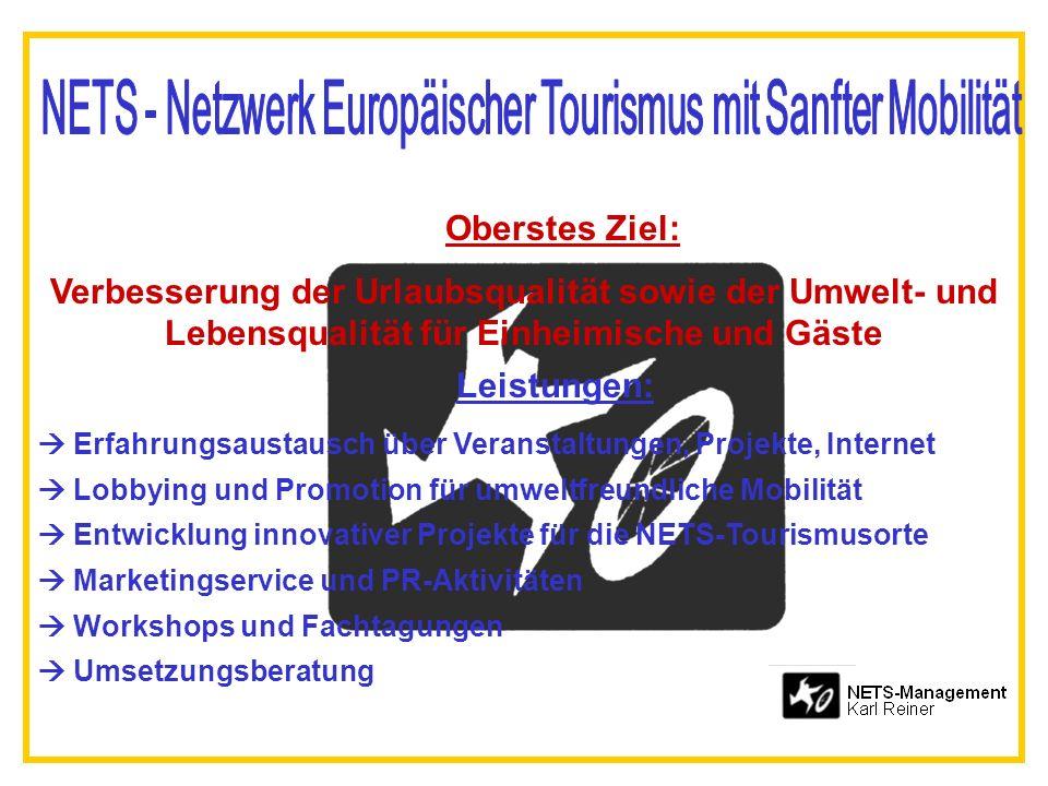Oberstes Ziel: Verbesserung der Urlaubsqualität sowie der Umwelt- und Lebensqualität für Einheimische und Gäste Leistungen: Erfahrungsaustausch über V