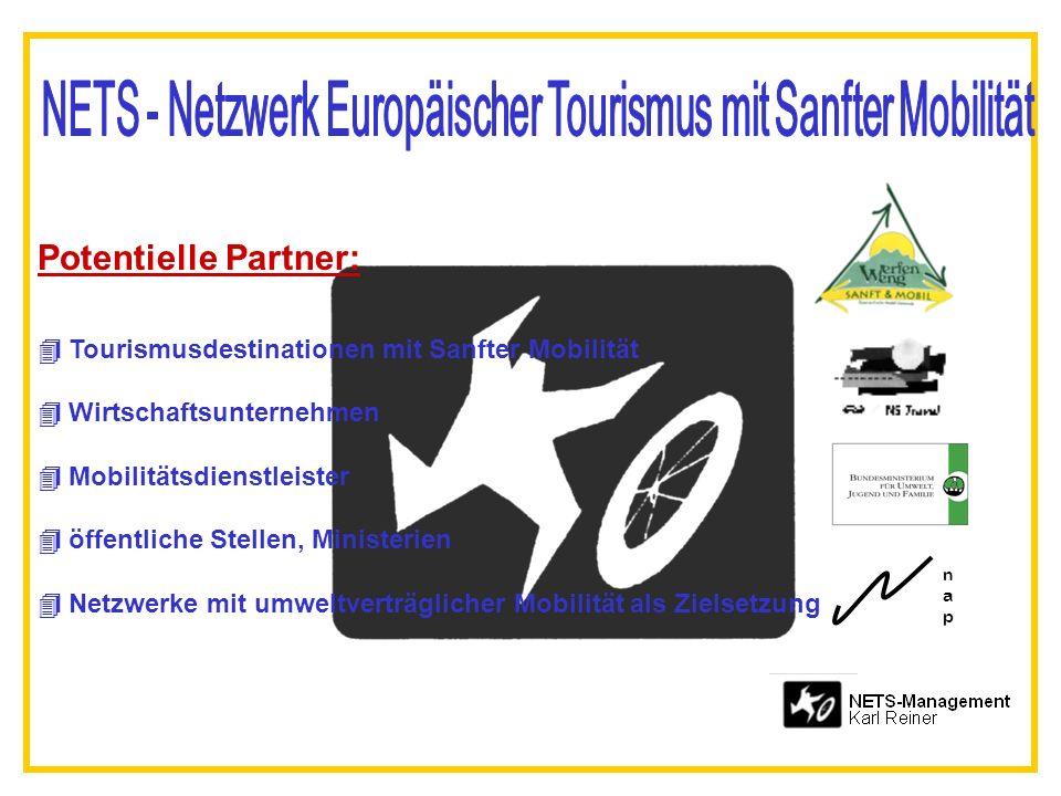 Potentielle Partner: Tourismusdestinationen mit Sanfter Mobilität Wirtschaftsunternehmen Mobilitätsdienstleister öffentliche Stellen, Ministerien Netzwerke mit umweltverträglicher Mobilität als Zielsetzung napnap