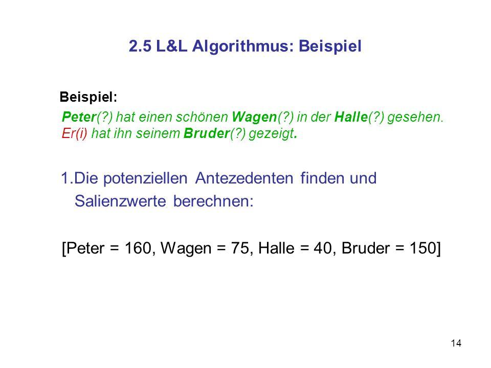 14 2.5 L&L Algorithmus: Beispiel Beispiel: Peter(?) hat einen schönen Wagen(?) in der Halle(?) gesehen. Er(i) hat ihn seinem Bruder(?) gezeigt. 1.Die