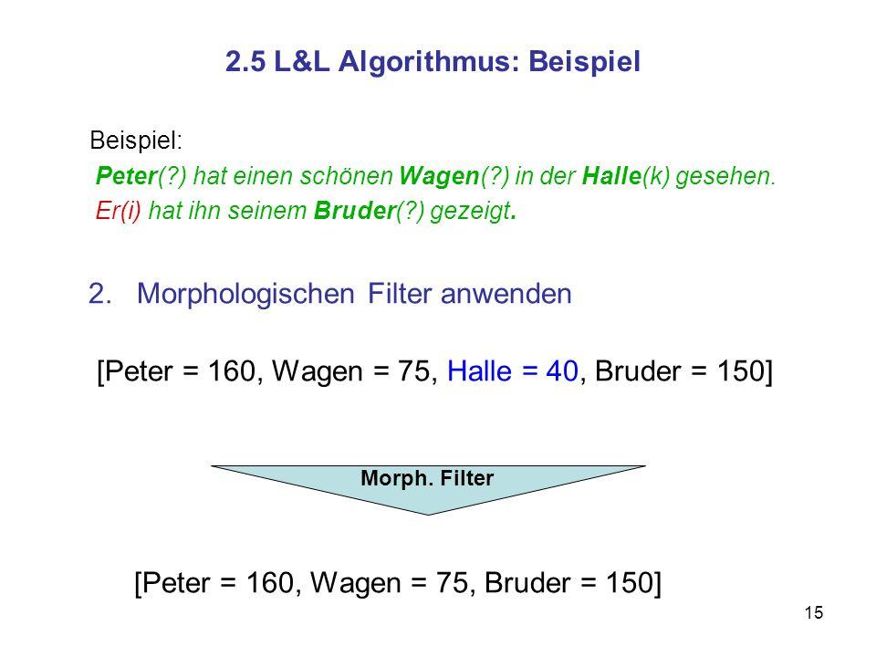 15 2.5 L&L Algorithmus: Beispiel Beispiel: Peter(?) hat einen schönen Wagen(?) in der Halle(k) gesehen. Er(i) hat ihn seinem Bruder(?) gezeigt. 2. Mor