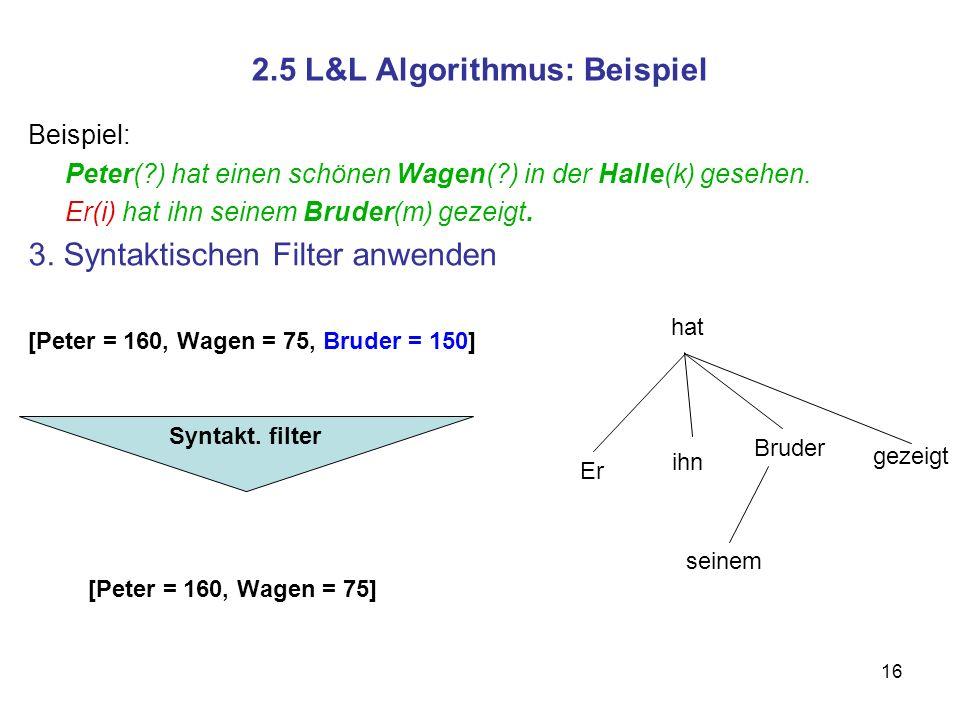 16 2.5 L&L Algorithmus: Beispiel Beispiel: Peter(?) hat einen schönen Wagen(?) in der Halle(k) gesehen. Er(i) hat ihn seinem Bruder(m) gezeigt. 3. Syn