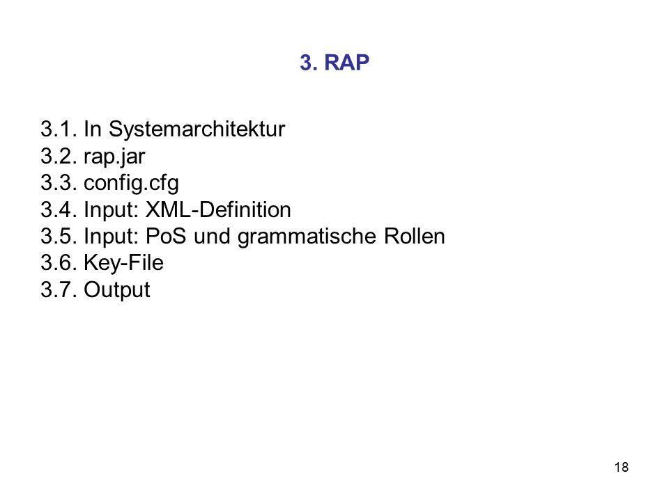 18 3. RAP 3.1. In Systemarchitektur 3.2. rap.jar 3.3. config.cfg 3.4. Input: XML-Definition 3.5. Input: PoS und grammatische Rollen 3.6. Key-File 3.7.