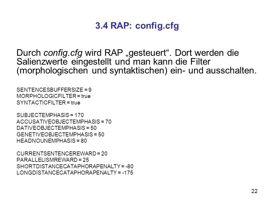 22 3.4 RAP: config.cfg Durch config.cfg wird RAP gesteuert. Dort werden die Salienzwerte eingestellt und man kann die Filter (morphologischen und synt