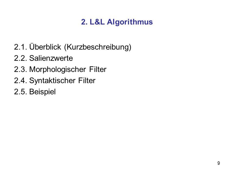 9 2. L&L Algorithmus 2.1. Überblick (Kurzbeschreibung) 2.2. Salienzwerte 2.3. Morphologischer Filter 2.4. Syntaktischer Filter 2.5. Beispiel