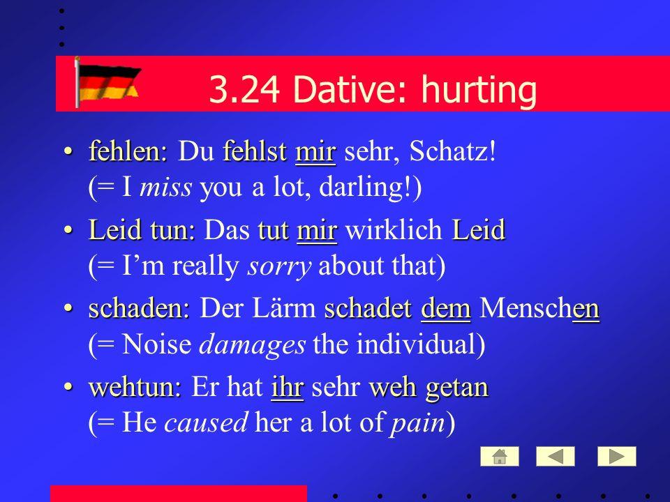 3.24 Dative: hurting fehlen: fehlstmirfehlen: Du fehlst mir sehr, Schatz.