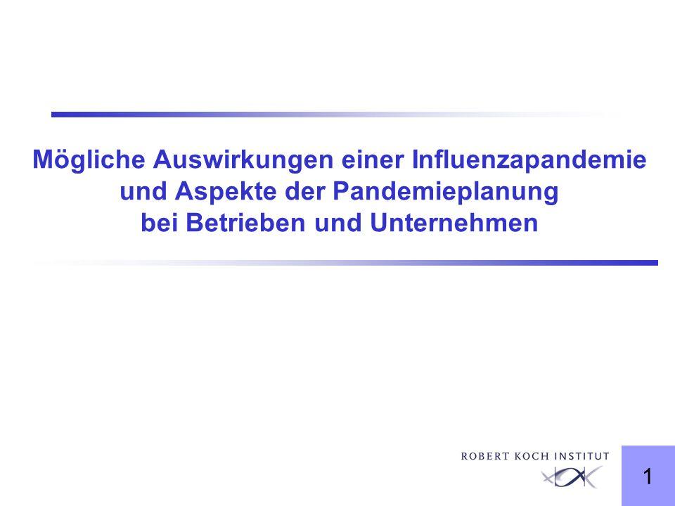 1 Mögliche Auswirkungen einer Influenzapandemie und Aspekte der Pandemieplanung bei Betrieben und Unternehmen