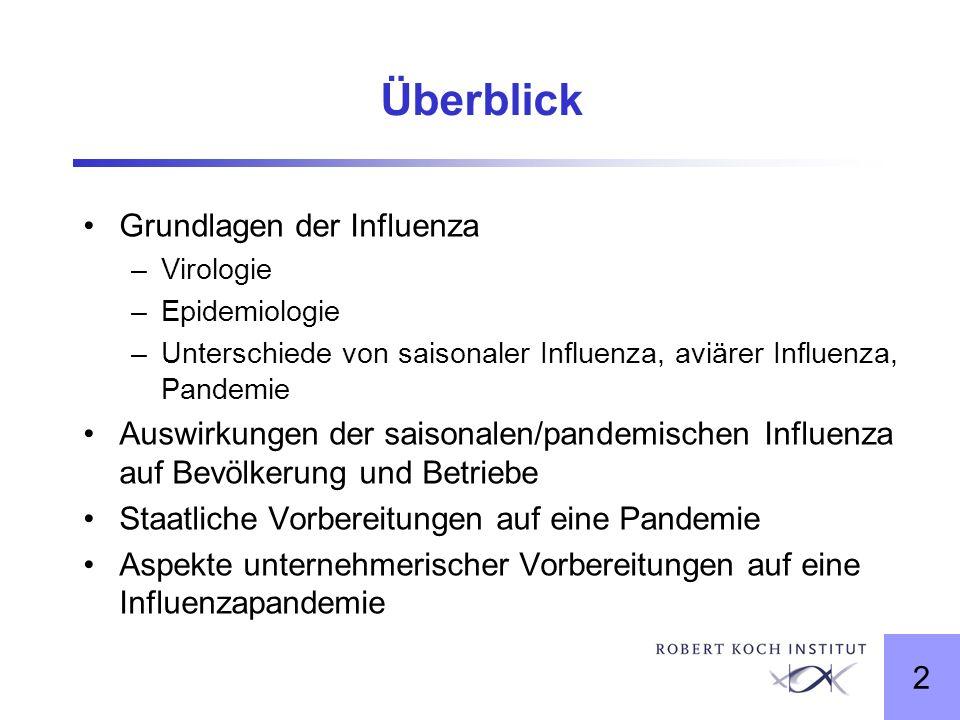2 Überblick Grundlagen der Influenza –Virologie –Epidemiologie –Unterschiede von saisonaler Influenza, aviärer Influenza, Pandemie Auswirkungen der sa