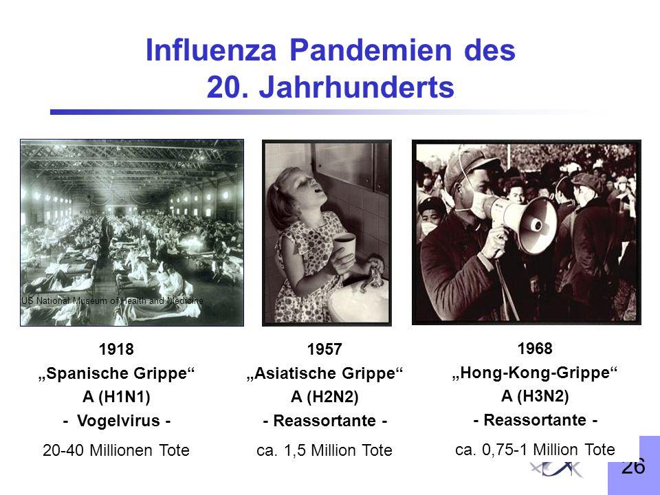 26 Influenza Pandemien des 20. Jahrhunderts 1968: Hong Kong Flu US National Museum of Health and Medicine 1918 Spanische Grippe A (H1N1) - Vogelvirus