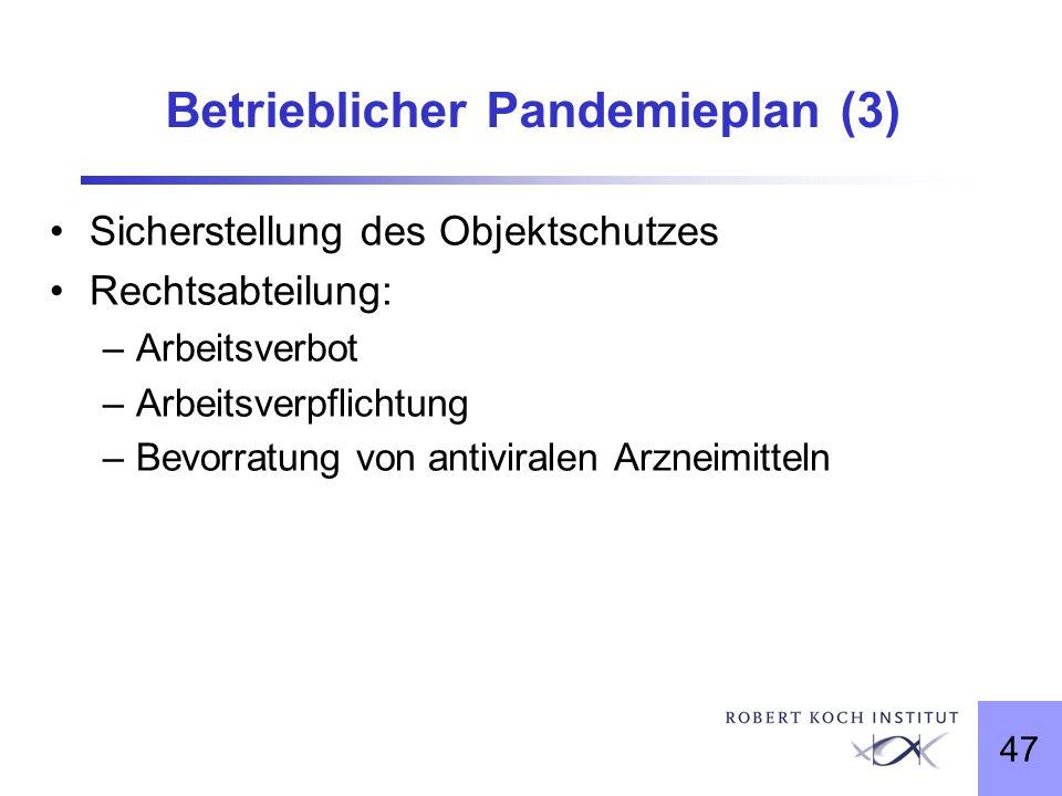 47 Betrieblicher Pandemieplan (3) Sicherstellung des Objektschutzes Rechtsabteilung: –Arbeitsverbot –Arbeitsverpflichtung –Bevorratung von antiviralen