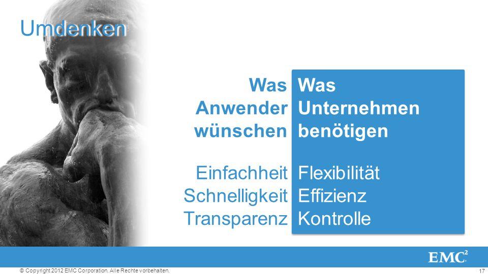 17 © Copyright 2012 EMC Corporation. Alle Rechte vorbehalten. Was Unternehmen benötigen Flexibilität Effizienz Kontrolle Was Unternehmen benötigen Fle