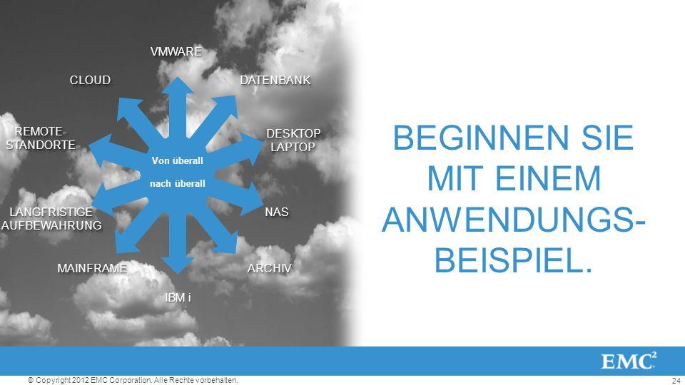 24 © Copyright 2012 EMC Corporation. Alle Rechte vorbehalten.VMWAREVMWARE REMOTE- STANDORTE DESKTOP LAPTOP NASNAS DATENBANKDATENBANK IBM i MAINFRAMEMA
