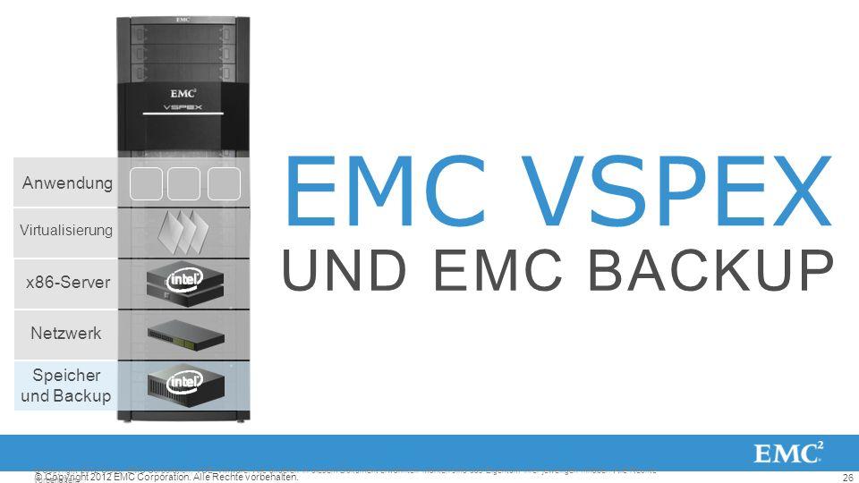 26 © Copyright 2012 EMC Corporation. Alle Rechte vorbehalten. EMC VSPEX UND EMC BACKUP © Copyright 2012 Cisco, EMC Corporation, VCE, VMware. Alle ande