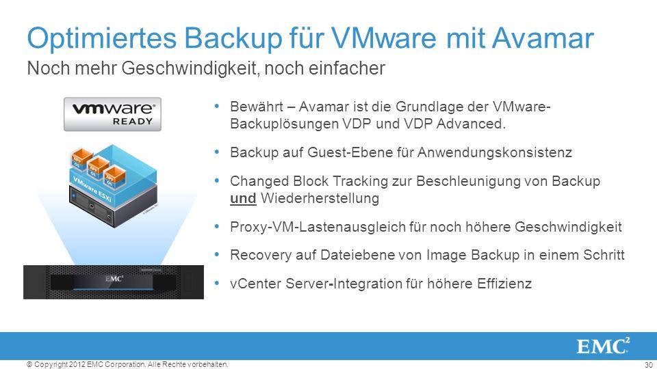 30 © Copyright 2012 EMC Corporation. Alle Rechte vorbehalten. Noch mehr Geschwindigkeit, noch einfacher Optimiertes Backup für VMware mit Avamar Bewäh