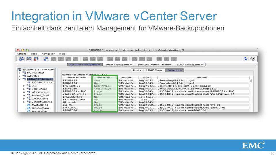 33 © Copyright 2012 EMC Corporation. Alle Rechte vorbehalten. Integration in VMware vCenter Server Einfachheit dank zentralem Management für VMware-Ba