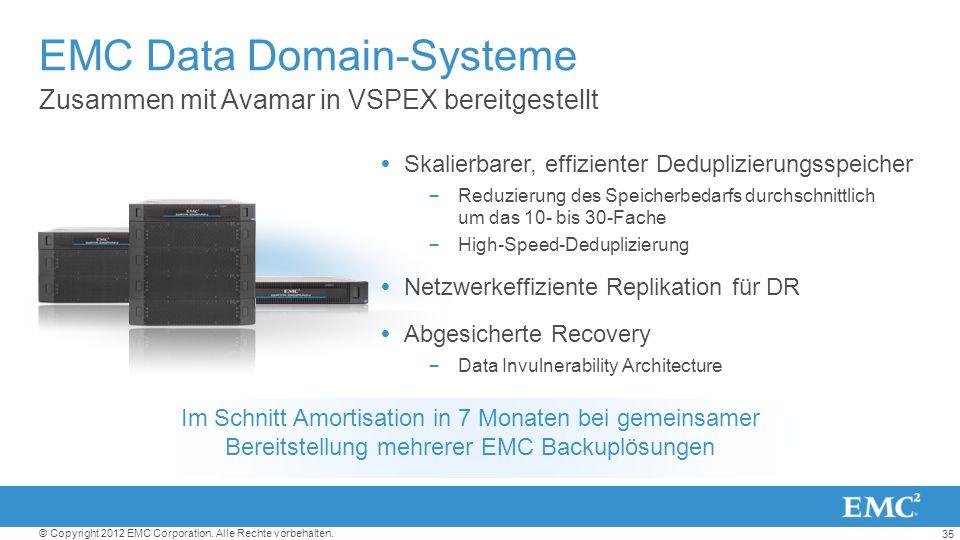 35 © Copyright 2012 EMC Corporation. Alle Rechte vorbehalten. EMC Data Domain-Systeme Zusammen mit Avamar in VSPEX bereitgestellt Skalierbarer, effizi