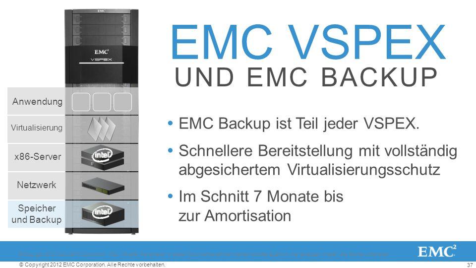 37 © Copyright 2012 EMC Corporation. Alle Rechte vorbehalten. EMC VSPEX EMC Backup ist Teil jeder VSPEX. Schnellere Bereitstellung mit vollständig abg