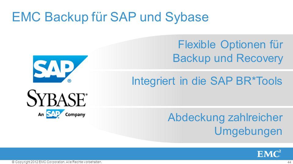 44 © Copyright 2012 EMC Corporation. Alle Rechte vorbehalten. Flexible Optionen für Backup und Recovery Integriert in die SAP BR*Tools Abdeckung zahlr