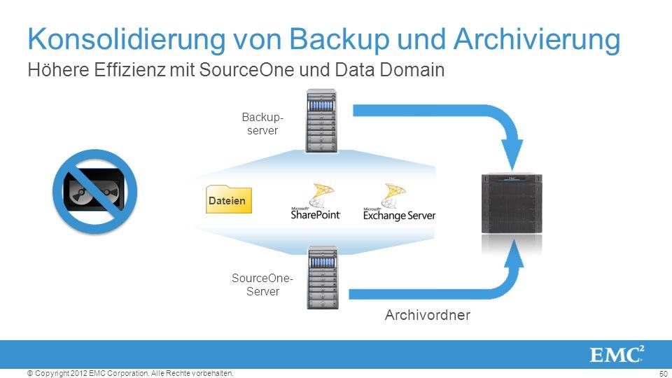 50 © Copyright 2012 EMC Corporation. Alle Rechte vorbehalten. Höhere Effizienz mit SourceOne und Data Domain Konsolidierung von Backup und Archivierun