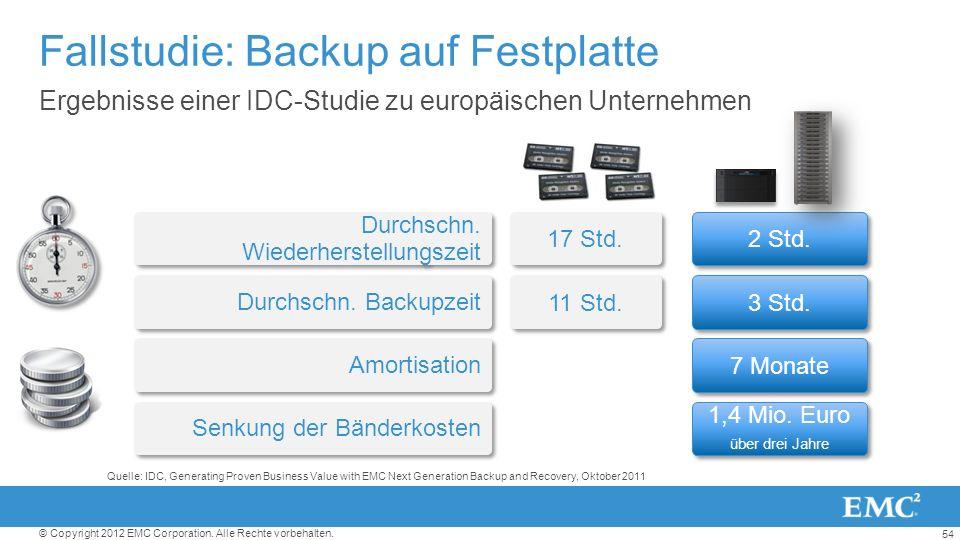 54 © Copyright 2012 EMC Corporation. Alle Rechte vorbehalten. Fallstudie: Backup auf Festplatte Ergebnisse einer IDC-Studie zu europäischen Unternehme