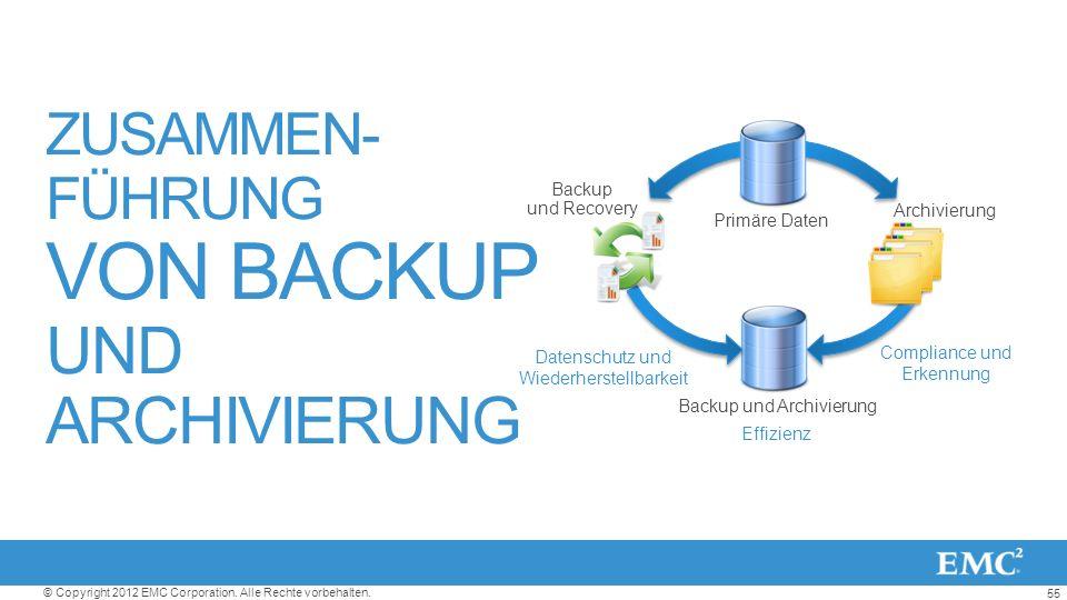 55 © Copyright 2012 EMC Corporation. Alle Rechte vorbehalten. ZUSAMMEN- FÜHRUNG VON BACKUP UND ARCHIVIERUNG Datenschutz und Wiederherstellbarkeit Effi