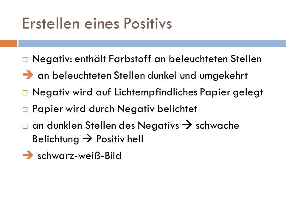 Erstellen eines Positivs Negativ: enthält Farbstoff an beleuchteten Stellen an beleuchteten Stellen dunkel und umgekehrt Negativ wird auf Lichtempfindliches Papier gelegt Papier wird durch Negativ belichtet an dunklen Stellen des Negativs schwache Belichtung Positiv hell schwarz-weiß-Bild