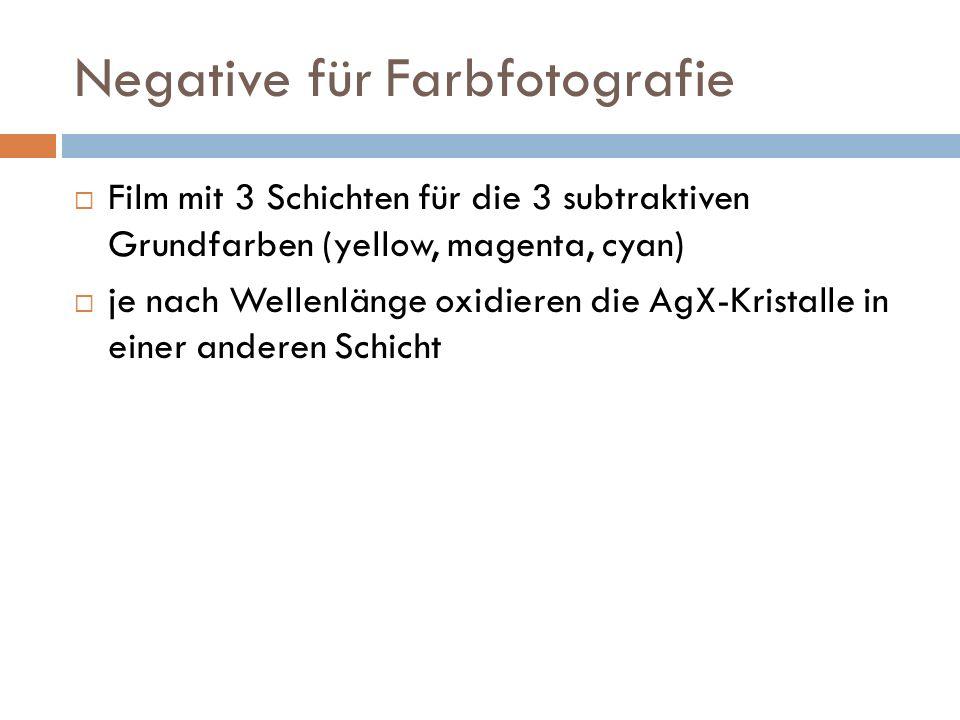 Negative für Farbfotografie Film mit 3 Schichten für die 3 subtraktiven Grundfarben (yellow, magenta, cyan) je nach Wellenlänge oxidieren die AgX-Kristalle in einer anderen Schicht