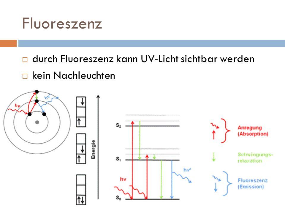 Fluoreszenz durch Fluoreszenz kann UV-Licht sichtbar werden kein Nachleuchten
