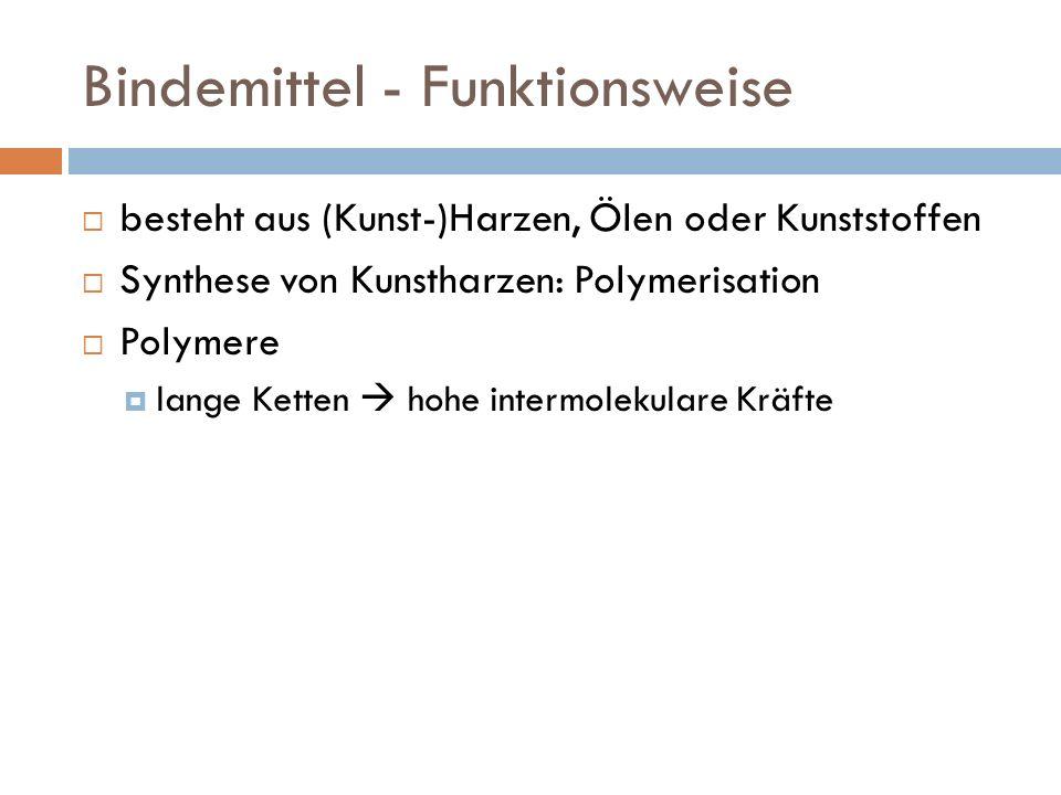 Bindemittel - Funktionsweise besteht aus (Kunst-)Harzen, Ölen oder Kunststoffen Synthese von Kunstharzen: Polymerisation Polymere lange Ketten hohe intermolekulare Kräfte