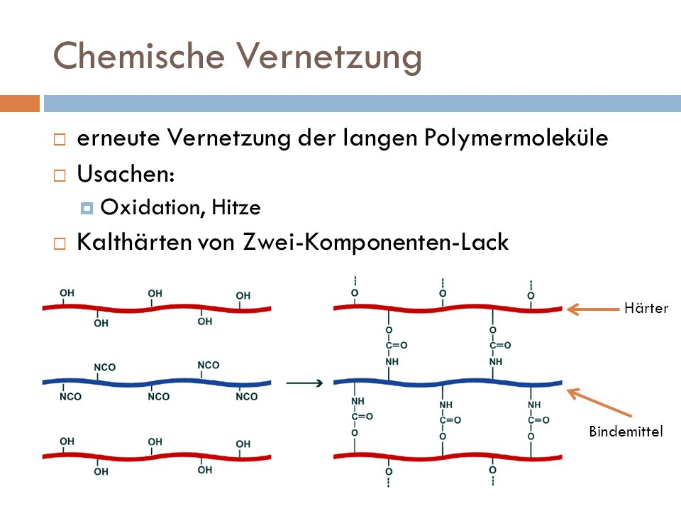 Chemische Vernetzung erneute Vernetzung der langen Polymermoleküle Usachen: Oxidation, Hitze Kalthärten von Zwei-Komponenten-Lack Bindemittel Härter