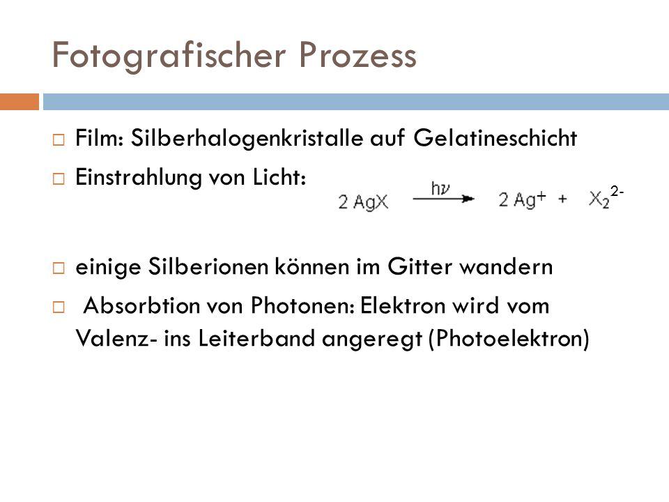 Fotografischer Prozess Film: Silberhalogenkristalle auf Gelatineschicht Einstrahlung von Licht: einige Silberionen können im Gitter wandern Absorbtion von Photonen: Elektron wird vom Valenz- ins Leiterband angeregt (Photoelektron) + 2-