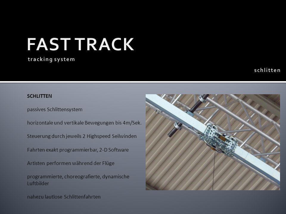 SCHLITTEN passives Schlittensystem horizontale und vertikale Bewegungen bis 4m/Sek. Steuerung durch jeweils 2 Highspeed Seilwinden Fahrten exakt progr