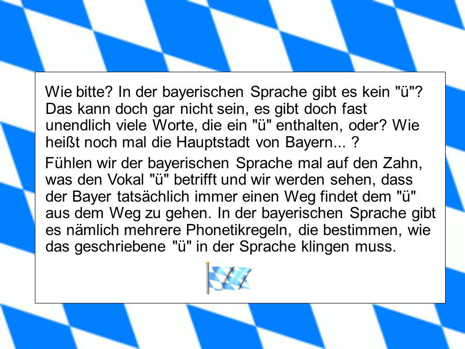 Wie bitte.In der bayerischen Sprache gibt es kein ü .