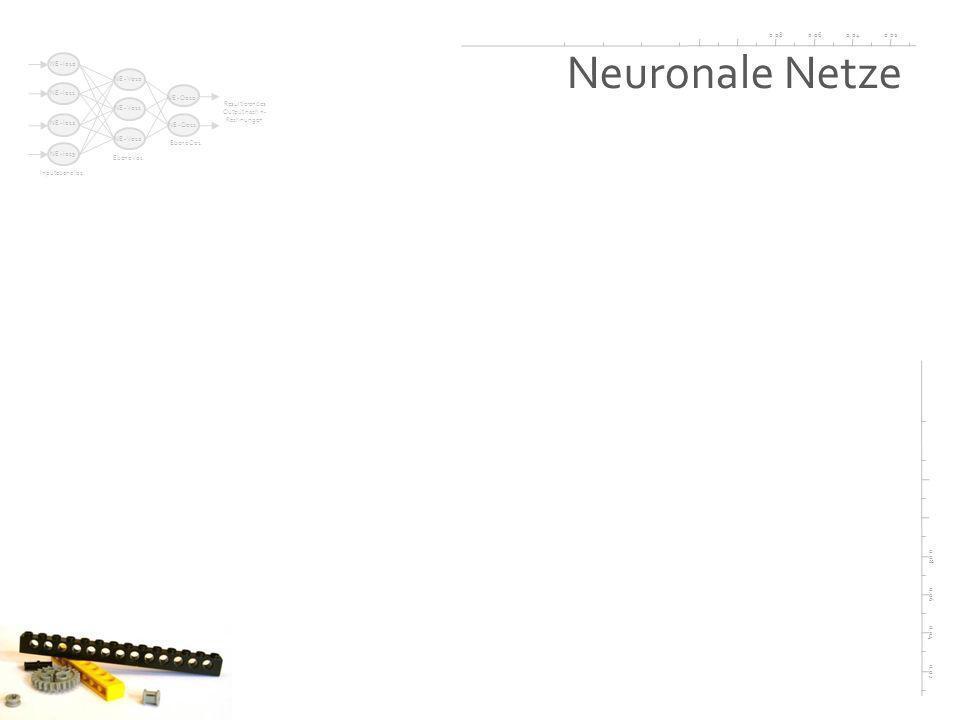 0.020.040.060.08 0.02 0.04 0.06 0.08 Neuronale Netze Inputebene I01 Ebene V01 Ebene O01 NE - I010 NE - I011 NE - I012 NE - I013 NE - V010 NE - V011 NE - V012 NE - O010 NE - O011 Resultierendes Output nach n- Rechnungen