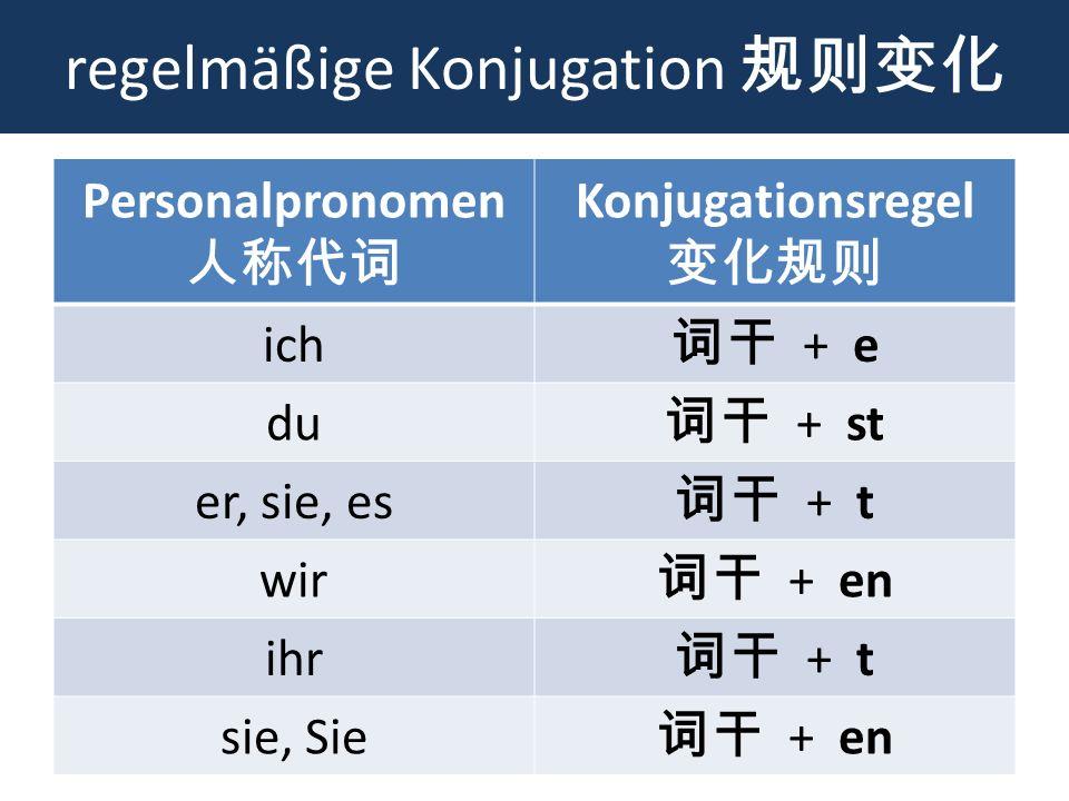 regelmäßige Konjugation Personalpronomen Konjugationsregel ich + e du + st er, sie, es + t wir + en ihr + t sie, Sie + en