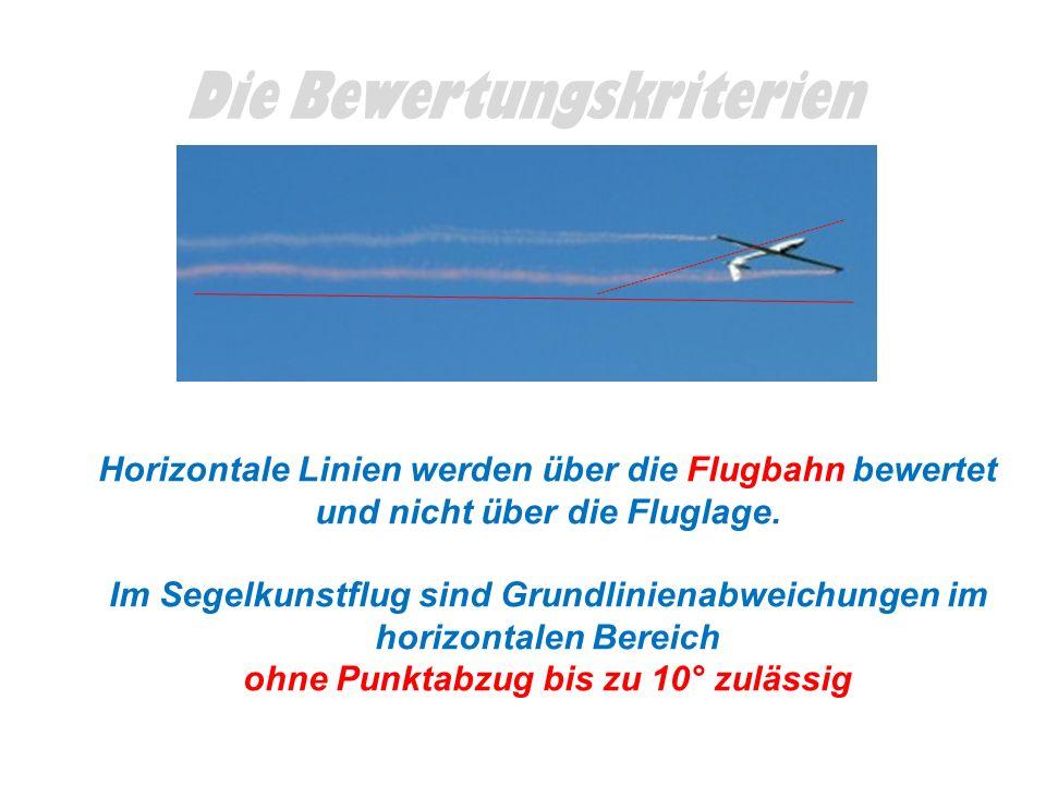 Die Bewertungskriterien Horizontale Linien werden über die Flugbahn bewertet und nicht über die Fluglage. Im Segelkunstflug sind Grundlinienabweichung