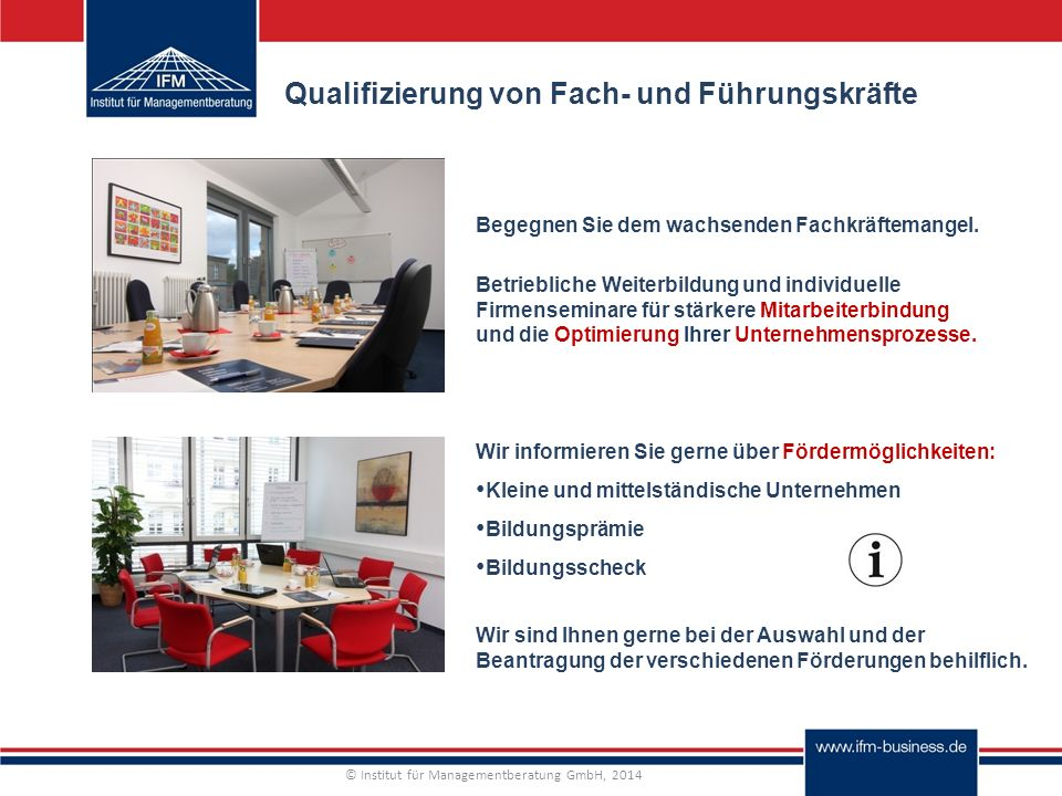 © Institut für Managementberatung GmbH, 2014 Qualifizierung von Fach- und Führungskräfte Begegnen Sie dem wachsenden Fachkräftemangel.