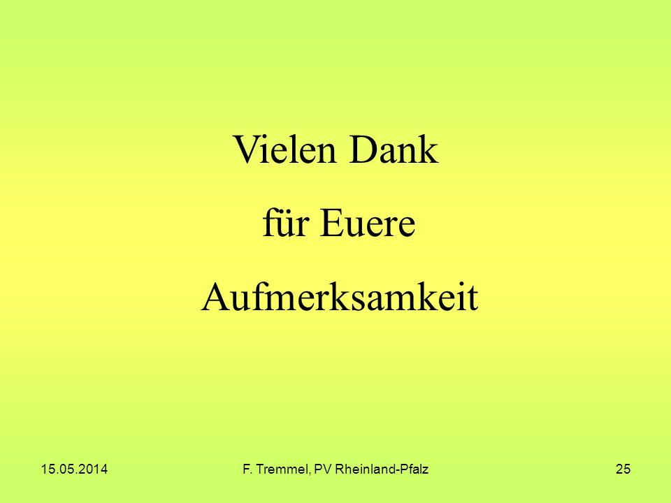 15.05.2014F. Tremmel, PV Rheinland-Pfalz25 Vielen Dank für Euere Aufmerksamkeit