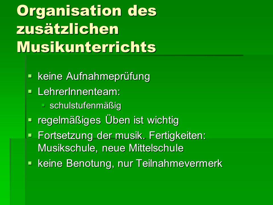 Aufbau des Schulversuchs Volksschule mit musikalischem SP 1.