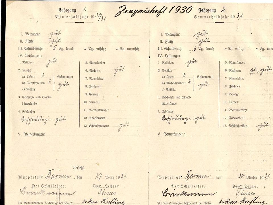 Zeugnisheft 1930