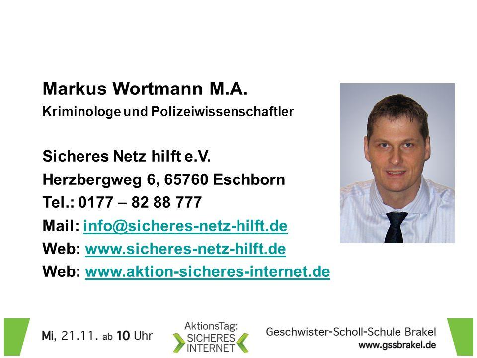 Markus Wortmann M.A.Kriminologe und Polizeiwissenschaftler Sicheres Netz hilft e.V.