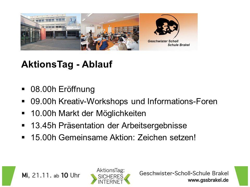 AktionsTag - Ablauf 08.00h Eröffnung 09.00h Kreativ-Workshops und Informations-Foren 10.00h Markt der Möglichkeiten 13.45h Präsentation der Arbeitserg