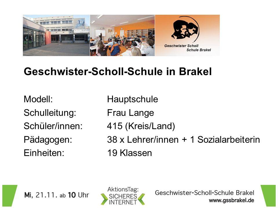 Geschwister-Scholl-Schule in Brakel Modell: Hauptschule Schulleitung: Frau Lange Schüler/innen: 415 (Kreis/Land) Pädagogen: 38 x Lehrer/innen + 1 Sozialarbeiterin Einheiten: 19 Klassen