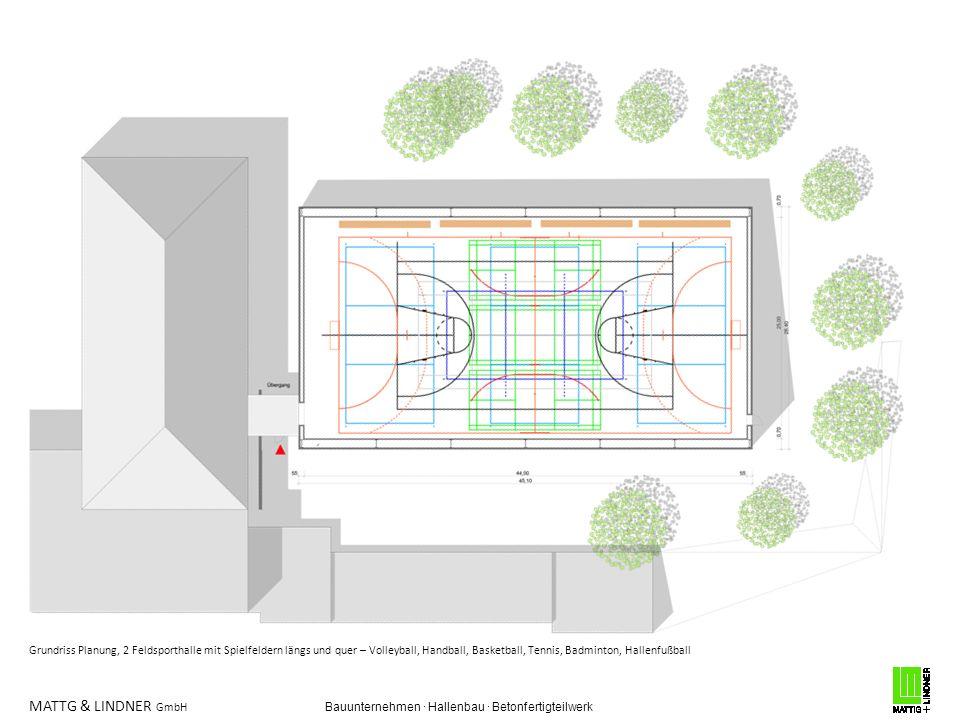 MATTG & LINDNER GmbH Bauunternehmen · Hallenbau · Betonfertigteilwerk Grundriss Planung, 2 Feldsporthalle mit Spielfeldern längs und quer – Volleyball