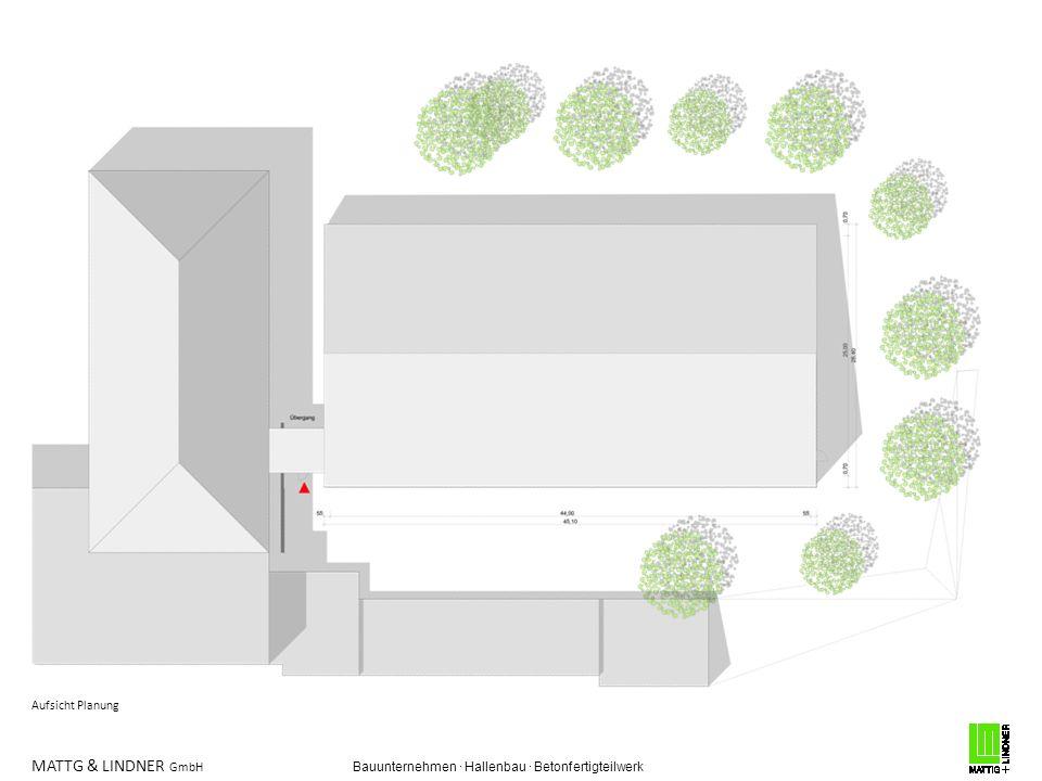 MATTG & LINDNER GmbH Bauunternehmen · Hallenbau · Betonfertigteilwerk Grundriss Planung, Sporthalle mit Handballfeld und Sitzbänken lichte Weite 25 x 44 m