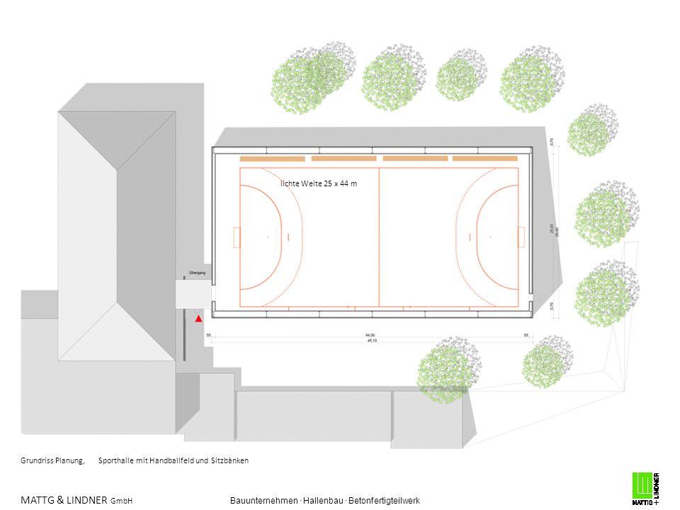 MATTG & LINDNER GmbH Bauunternehmen · Hallenbau · Betonfertigteilwerk Grundriss Planung, Sporthalle mit Handballfeld und Sitzbänken lichte Weite 25 x